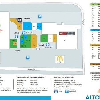Plan of Altone Park Shopping Centre