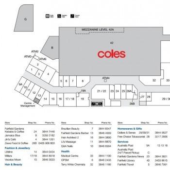 Plan of Fairfield Gardens Shopping Centre