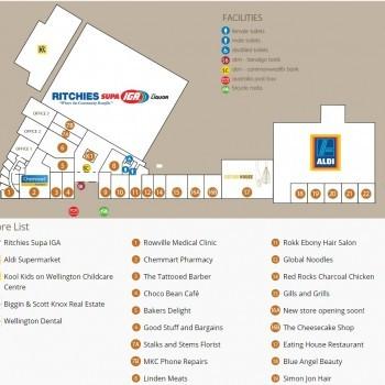Plan of Wellington Village Shopping Centre